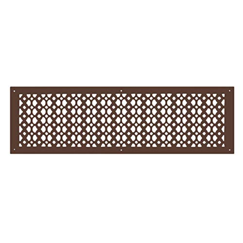 Designer Home & Kitchen Décor Hardware Air Return Grille 8X30 - Handcrafted Cast Aluminum - Decorative Grilles for Floors, Ceilings, Walls, Durable, Sand Casted, Powder Coated, Matte Flat - Brown