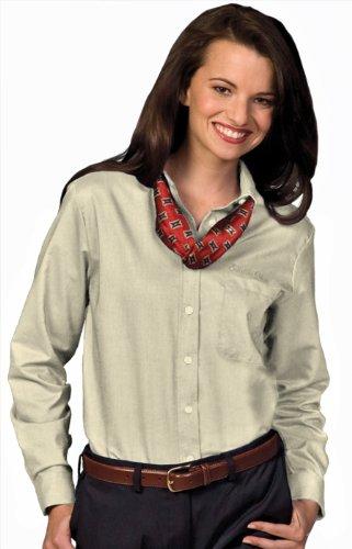 Edwards Garment Women's Easy Care Long Sleeve Oxford Shirt, TAN, Medium