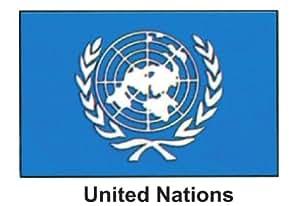 """Producto nuevo 4""""x 6"""" MUNDO palo bandera uno dozen- Naciones Unidas"""