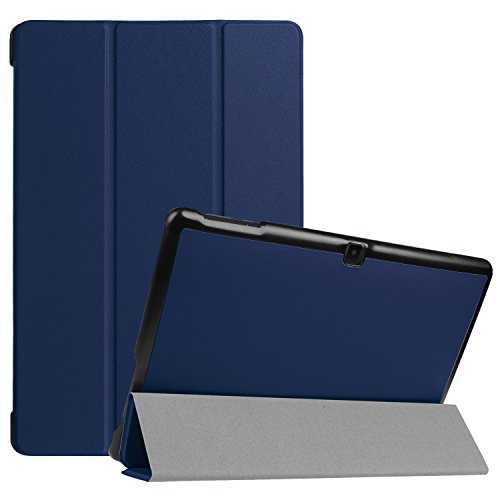 Dragon Touch X10 2017 Edition Tablet Case- Ratesell Tri-Fold Smart-shell Stand Case Cover With Auto Sleep/ Wake for Dragon Touch X10 Edition 10.1-Inch Android Tablet Navy Blue (Dragon Touch Tablet Cover)
