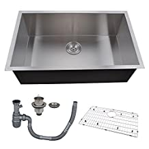 KES 30-Inch Kitchen Sink Stainless Steel Single Bowl Undermount Deep 16 Gauge Zero Radius with Drain Stainer Basket and Bottom Grid Protector 30 x 18 x 10 Inch European Contemporary Style, UB7646-C1
