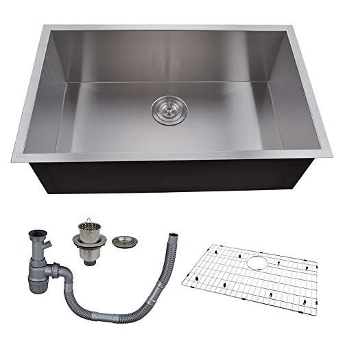 Sink Stainless Steel Single Bowl Undermount Deep 16 Gauge Zero Radius with Drain Stainer Basket and Bottom Grid Protector 30 x 18 x 10 Inch European Contemporary Style, UB7646-C1 ()