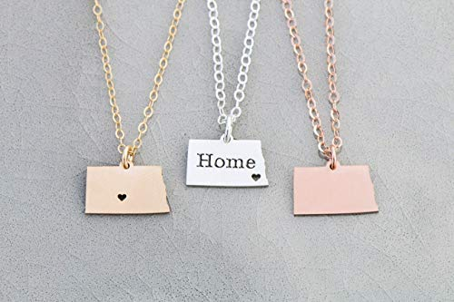 North Dakota State Necklace - IBD - Custom Engraved Gift – Choose Chain Length – Pendant Size Options - Ships in 1 Business Day - 935 Sterling Silver 14K Rose Gold Filled Charm