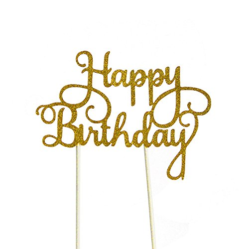 PALASASA Happy Birthday Cake Toppers. Sparkling Gold Glittery Birthday Cupcake Picks. Birthday Party Decorations]()