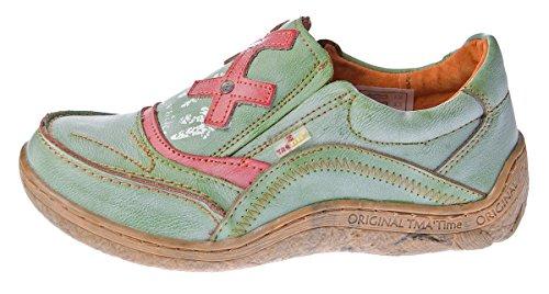 TMA Leder Comfort Damen Schuhe Eyes 1417 Slipper Turnschuhe Sneakers Halbschuhe Schwarz Grün Blau Grün