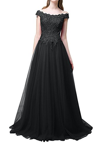 Rock mia Abendkleider La Festlichkleider Spitze Linie Brautmutterkleider A Ballkleider Braut Glamour Schwarz Langes PTdpwqA