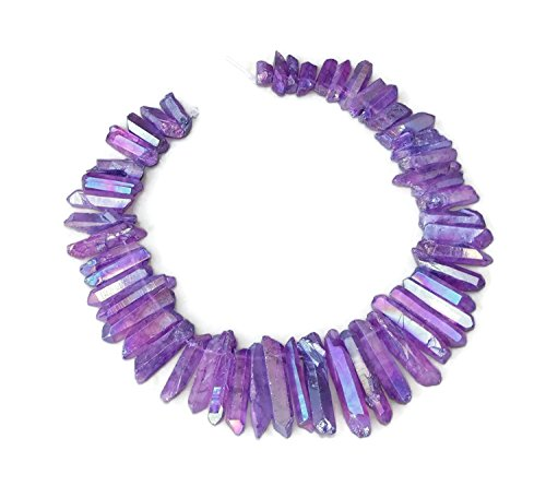 Purple AB Titanium Quartz, Crystal Points, Raw Crystal Quartz, Titanium Beads, Titanium Points, Crystal Quartz, Crystal Pendants - Quartz Beads - Graduated - Full Strand - 20mm - 40mm (Strand Beads Full Pendant)