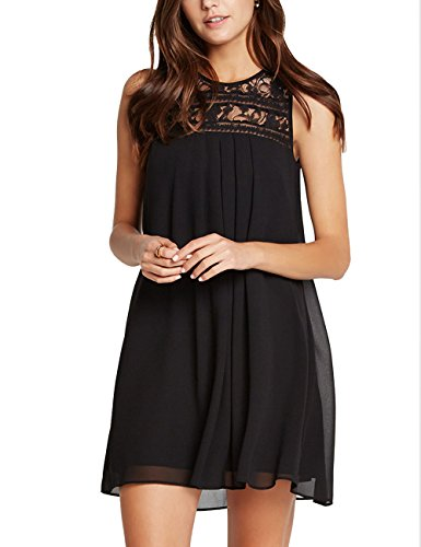 Ally-Magic Women's Summer Sleeveless Lace Patchwork Loose Casual Mini Chiffon Dress 3631 (M, Black)