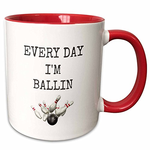 Photo Bowling Pin (3dRose Xander sports sayings - every day im ballin, bowling ball and pins picture, black lettering - 15oz Two-Tone Red Mug (mug_172357_10))