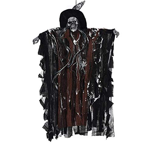 Vovomay Ghost Windsock Halloween Hanging Decoration,Halloween Party Supplies Hanging Ghost Witch Voice Rot Light Eyes Kinder Gift (Coffee) -