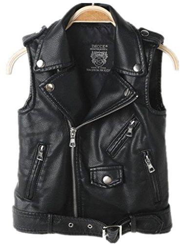 Faux leather Motorcycle Dress Casual Boys Joker Vest (Black)