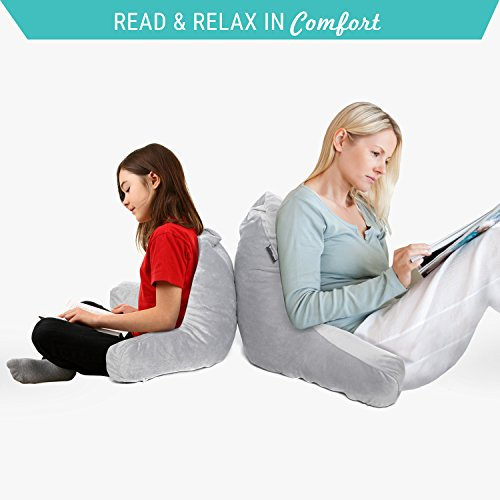 Milliard Reading Pillow with Shredded Memory Foam, Great as Backrest for Books or Gaming - 18x15in (Sit up Pillow)