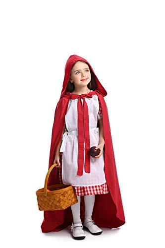 Red Riding Hood Dress Up (Simplecc Little Red Riding Hood Costume for Girls Halloween Cosplay Dress Up with Cape (Little Red Riding Hood, 4-6)