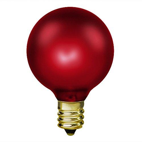 15W Luminescent Ruby Red - G16.5 - Candelabra Base - 130V 1500 Life Hours - Amusement Light Bulb - Antique Light Bulb Co. L1898 - 130v G16.5 Candelabra Base