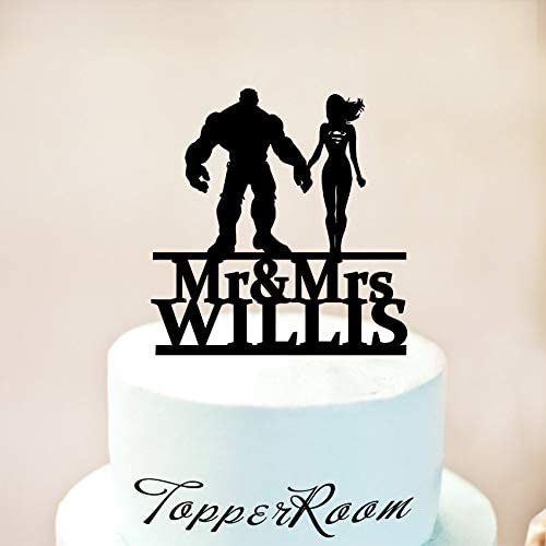 Hulk And Supergirl Cake Topper Wedding Cake Topper Mr And Mrs