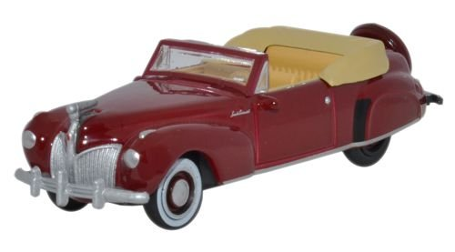 Oxford Diecast 87LC41001 HO Gauge 1:87 Scale Lincoln Continental 1941 maroon diecast ()