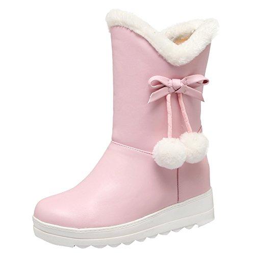 Latasa Short Boots Wedge Pink Pom Women's Winter Inside Low Pom fUwHBxfq