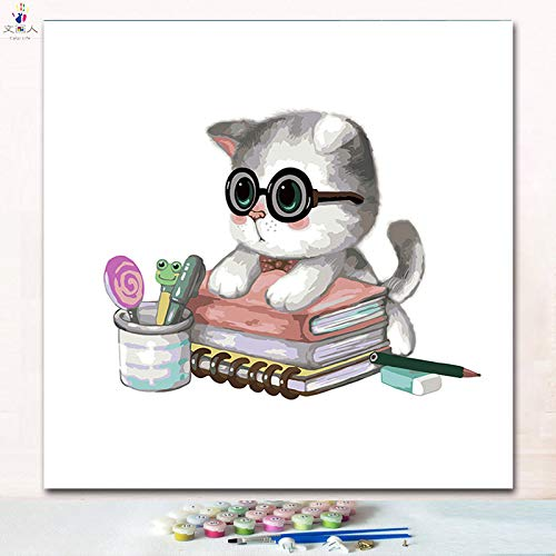 50x50 with frame 8572 cat20 KYKDY Animal Cats in a Cup Digital Oil Painting coloring Numbers Pictures by Numbers with colors and Brush for Kids Learning Paint,7265 cat13,50x50 no Frame