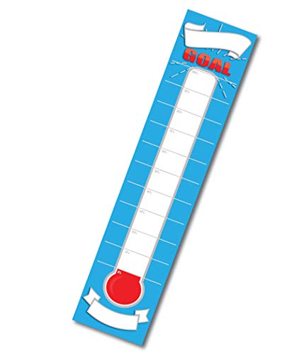 Dry Erase Goal Setting Fundraising Thermometer Chart Blue Goal Chart Temperature Poster for Office Classroom or Kids ()
