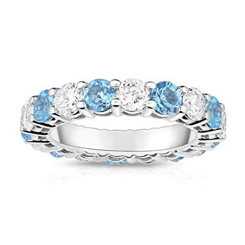 Noray Designs 14K White Gold Swiss Blue Topaz & Diamond (4.00 Ct TW, SI2-I1 Clarity) Eternity - 4 Gold Blue Ct Ring White 14k Topaz