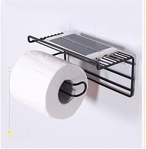 棚、浴室ストレージ用ティッシュペーパーロールホルダーと自己接着トイレットペーパーホルダー (Color : Black)