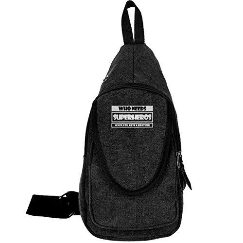 XIVEIER Outdoor Personalized Who Needs Superheros When You Have A Brother Funny Canvas Casual Daypacks For Men's Black