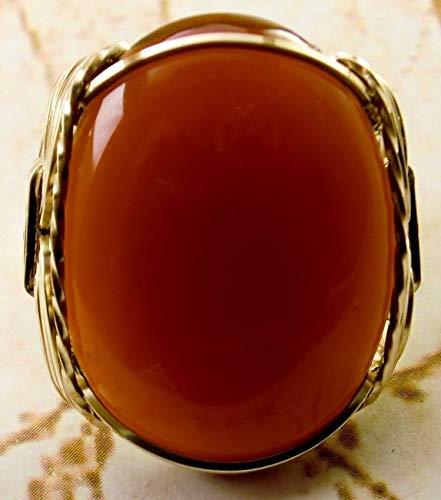 Bold Carnelian Artisan 14k Gold Filled Ring Men's Ladies Unisex US Size 9-14 Jewelry