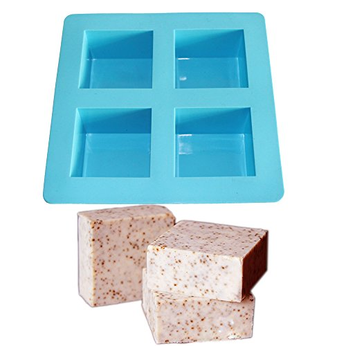- X-Haibei Flexible 4-Cavity Square Soap Lotion Bar Mold DIY Making for Homemade Craft