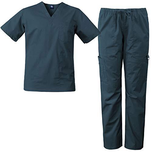 Mens Utility Scrub - Medgear Men's Stretch 12-Pocket Utility Unisex Scrub Set (Caribbean, L)