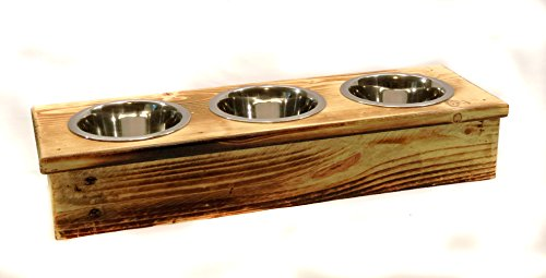 Triple Small Elevated Cat or Dog Dish // Small Feeding Stand // Cat or Dog Dish // Elevated Cat or Dog (3 Quart Feeder)
