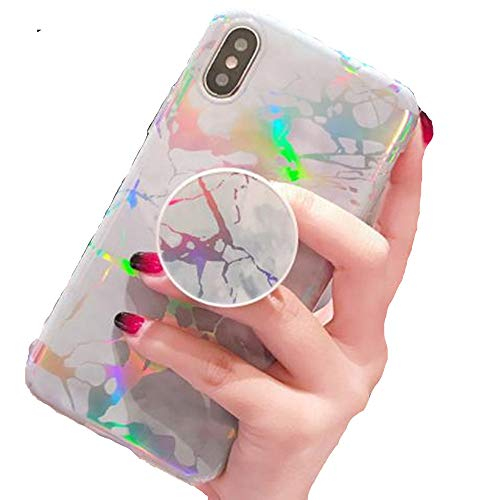 Price comparison product image iPhone 7 Plus Shiny Marble Ring Stand Case, Aulzaju iPhone 8 Plus Luxury Beauty Bling Holographic Sparkle TPU Cover for iPhone 8 Plus Plus for Girls Women-White