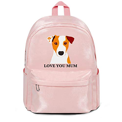 Maltese Jack Russell (Heart Wolf Womens Girl Boys Bag Purse Jack Russell Terrier Dog 'Love You Mum' Coffee Fashion Nylon Packable 13 Inch Laptop Compartment Backpack Bag Pink)