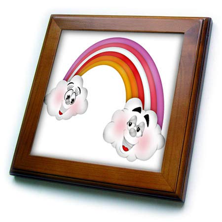 (3dRose Anne Marie Baugh - Illustrations - Cute Rainbow with Two Happy Clouds Illustration - 8x8 Framed Tile (ft_318021_1))