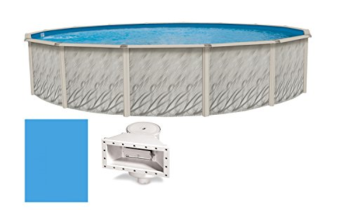 Wilbar Meadows 24-Feet-By-52-Inch Round Above-Ground Swimming Pool Includes Solid Blue Liner and Widemouth Skimmer by Wilbar