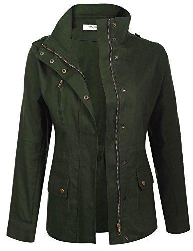 Delle Meaneor Giacca Verde Solido Con Donne Volta Casuale Coulisse Il Zip Verso Il Esercito Sua Tasche Fino Basso wpqptf