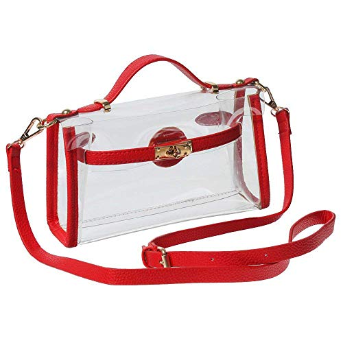 Approved Transparent Body Cross Stadium GOGO Bag Messenger Shoulder Red a Style NFL 8HTdTwq7