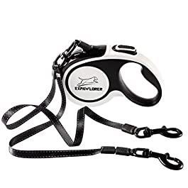 EXPAWLORER Dual Retractable Dog Leash – Double-Head Lockable Extendable Pet Leash – 16ft Reflective Nylon Ribbon – 360° Tangle-Free for Two Dogs Walking Training, Up to 160 lbs Total, 80 lbs Each