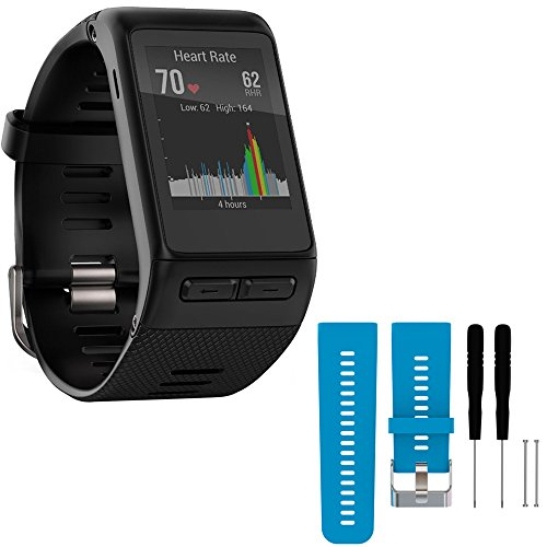 Garmin vivoactive HR GPS Smartwatch - X-Large Fit - Black (010-01605-04) with General Brand Silicone Band Strap + Tools for Garmin Vivoactive HR Sport Watch (Blue) by Garmin