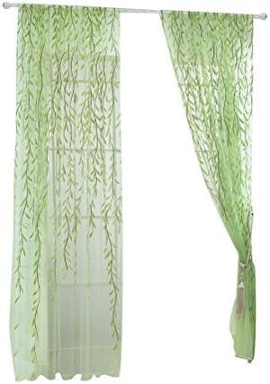 WINOMO Tenda per Finestre Porta Trasparente Tenda Ricamate Fogli Verde 100x270cm (1 Tenda)
