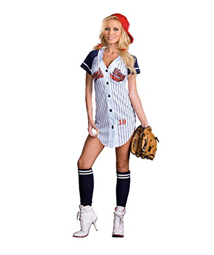 Dreamgirl Women's Grand Slam Baseball Costume, Lt. Blue Large,]()