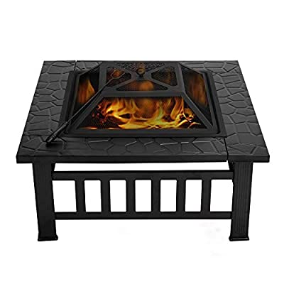 VIVOHOME Heavy Duty Metal Square Patio Backyard Firepit Table with Spark Screen Cover Log Grate and Poker for Outside Wood Burning and Camping