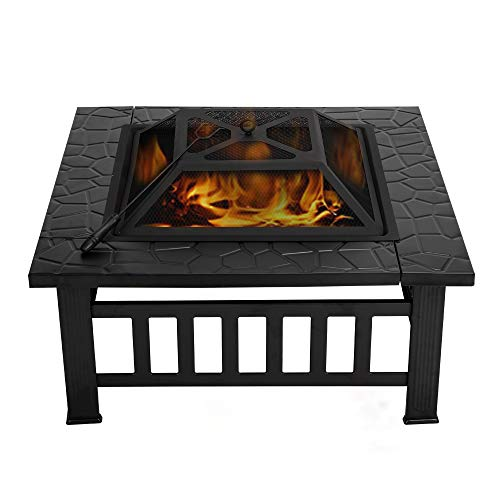 VIVOHOME Heavy Duty Metal Square Patio Backyard Firepit Table with Spark Screen Cover Log Grate and Poker for Outside Wood Burning and Camping (Best Backyard Fire Pit Designs)