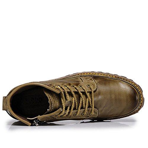 ICEGREY Herren Leder Chukka Stiefel Winter Boots Stiefeletten Kurzschaft Stiefel Khaki EU 39