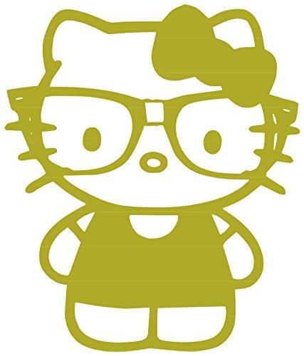 Nerdy Kitty Vinyl Sticker Decal (Gold, 1.7