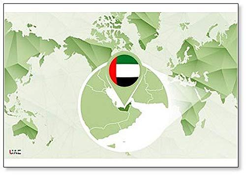 Amazon.com: World Map with Magnified United Arab Emirates Map ...
