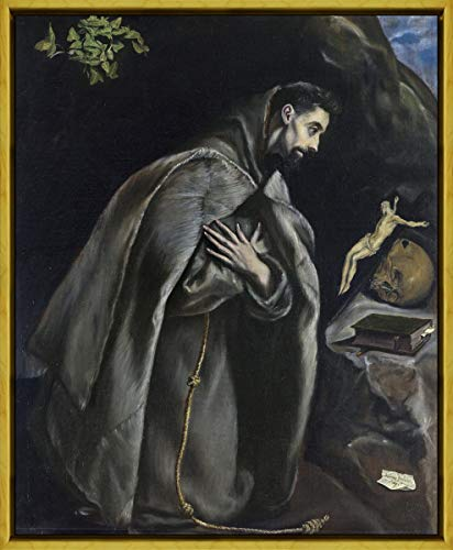 Berkin Arts Framed El Greco Giclee Canvas Print Paintings Poster Reproduction(St Francis in Prayer Before The Crucifix) #XLK
