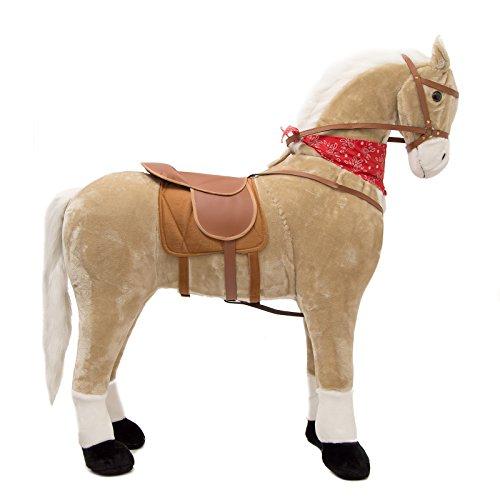Pink Papaya Riesen XXL Kinderpferd, Sternchen, 125 cm Plüsch-Pferd, fast lebensgroßes Spielzeug Pferd zum drauf sitzen, bis 100kg belastbar, mit verschiedenen Sounds, inkl. kleiner Bürste