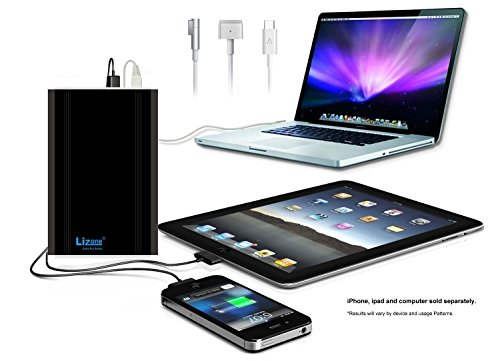 Lizone 50000mAH Extra Pro External Battery Charger for Apple MacBook, MacBook Pro, MacBook Air, USB QC Charger for Apple New MacBook 12 iPad iPhone 6 6S Plus 5S 5C 5 4 Samsung HTC & More, Black by Lizone (Image #1)