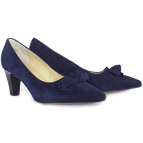Peter Kaiser Leola Smart Mid Heel Court Shoes With Bow In Navy Suede Notte Suede Vpxlj