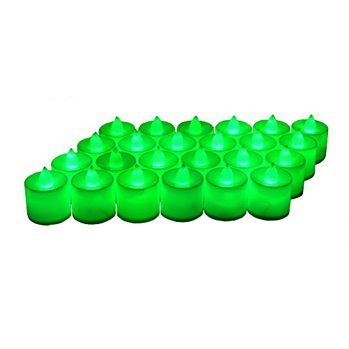 24 Pack LED Tea lights Candles - Flickering Flameless Tealight Candle - Battery Operated Electronic Fake Candles - Decoration for Wedding, Party, Dating and Festival Celebration (Green)